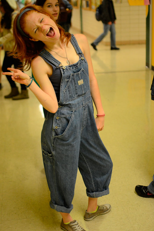 Sporting overalls during denim day was a popular style.