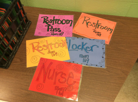 Colorful hall passes designed by para Joyce Pennington used in special education teacher Lisa Ross' classes.