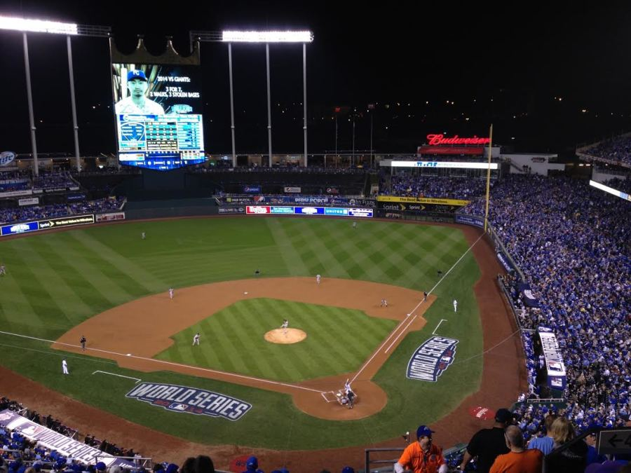 At Game Six of the World Series, Nori Aoki bats in the bottom of the first inning at Kauffman Stadium, Oct. 22, 2014.