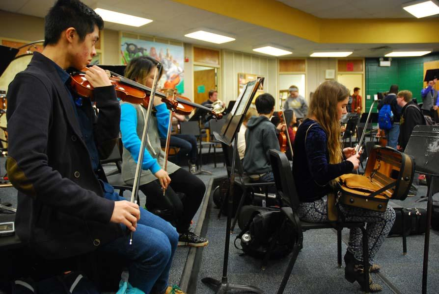 The South orchestra will play with other district schools tonight at their last concert.