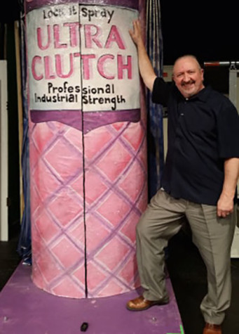 Theatre Director Mark Swezey next to Ultra Clutch can. photo by Lydia Thorn
