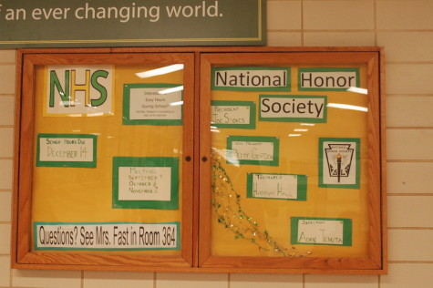 The National Honors Society has an information board in the front hall.