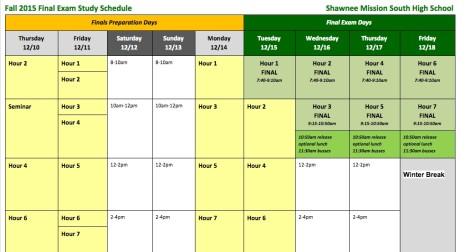 Schedule for Finals week