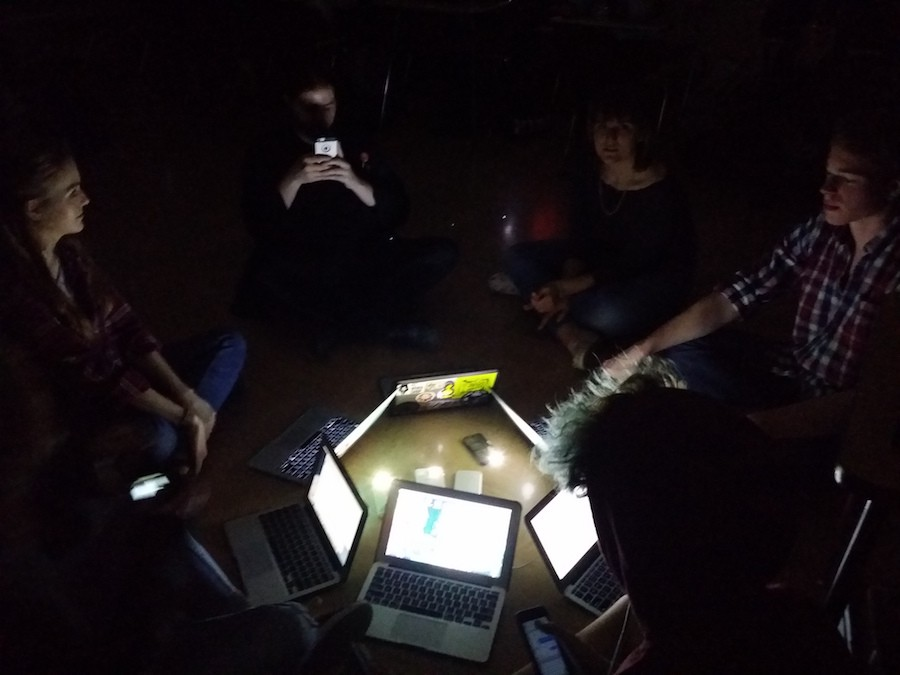 In 4th Hour AP English 12, students gathered around a campfire composed of laptops and cellphones during the power outage on March 25.