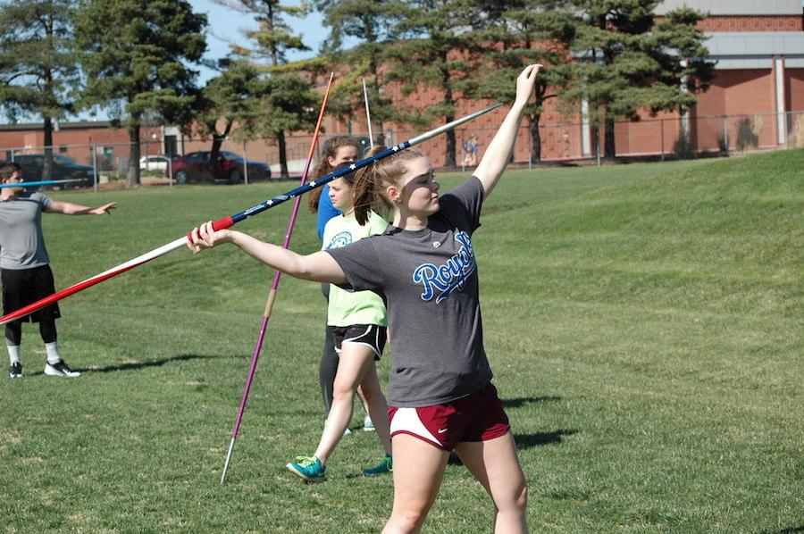 Sophomore Dottie Powell gets ready to throw a javelin at track and field practice.