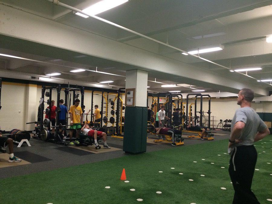 During the 7th hour  weights class, students break a sweat