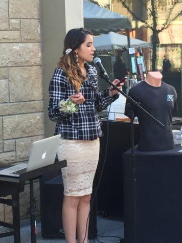 Senior Cinthia Romo at an open mic poetry slam.  photo courtesy of Cinthia Romo