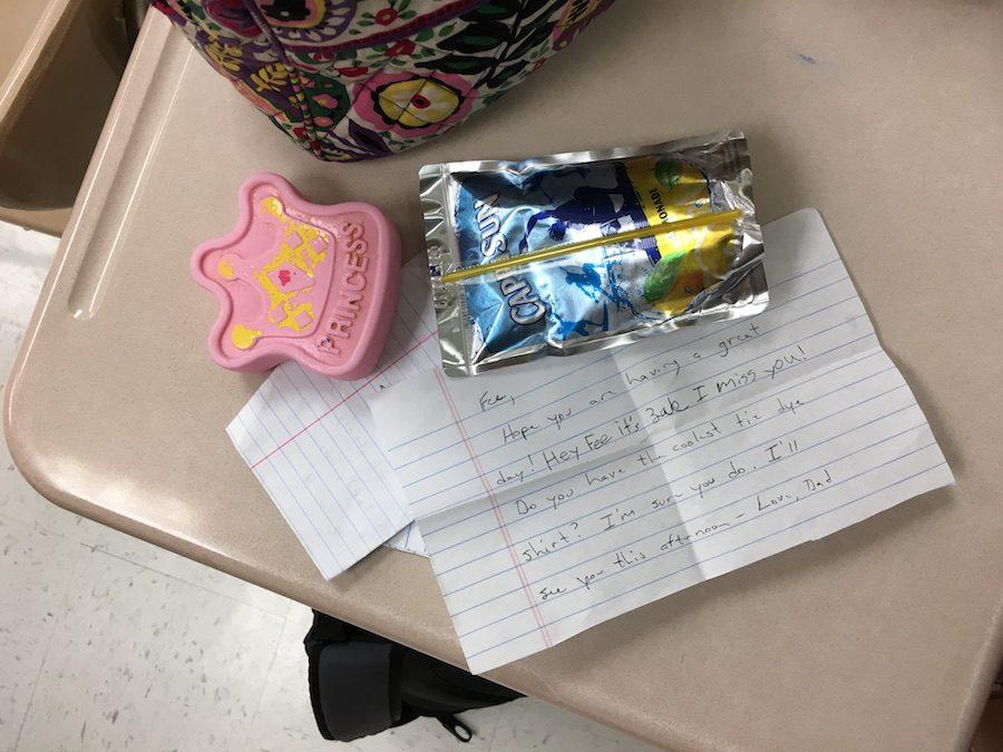 Note, Caprisun and ice pack that junior Abby Johnsons lunch box always contains.