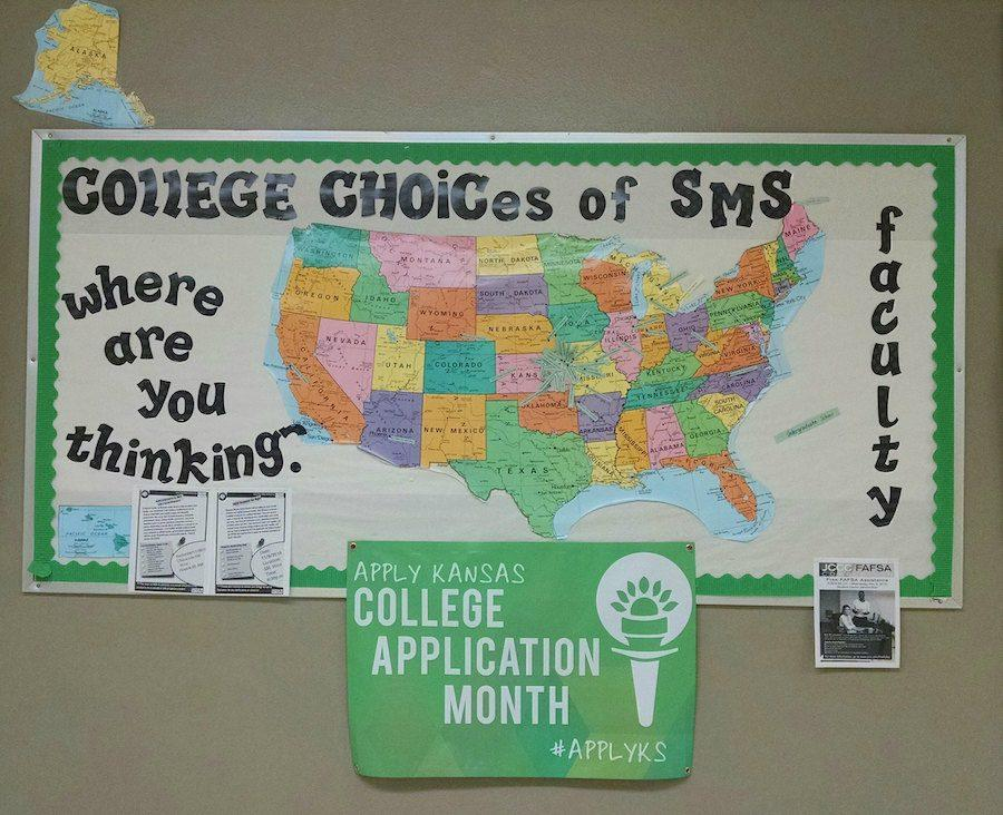 Outside of the counseling center is a map that shows where our teachers have attended college.