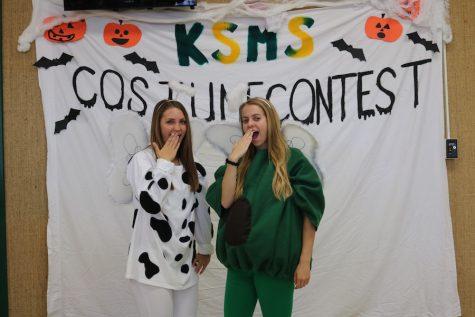 """Seniors Caroline Weaver and Corinne Rogers were dressed as 'holy cow"""" and """"holy guacamole"""""""