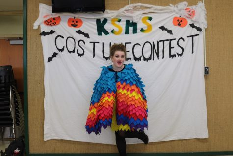 Junior Annaleigh Hobbs dressed as the tropical bird from up