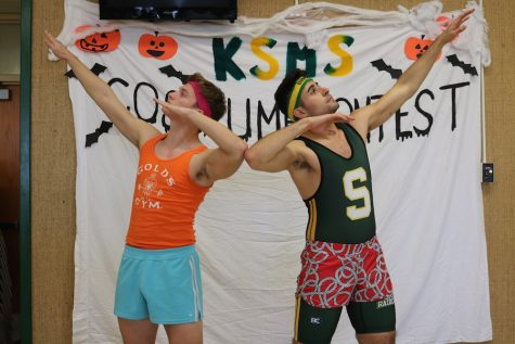 Seniors Michael Carter and Anton Caruso were dressed as 80's body builders