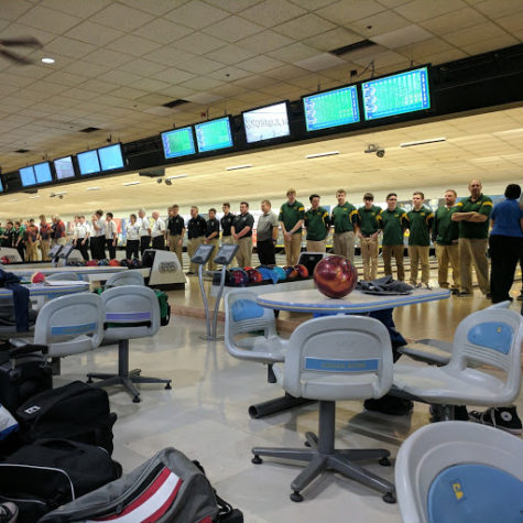 At the State bowling meet, members of the boys participate in the ceremonial lineup.