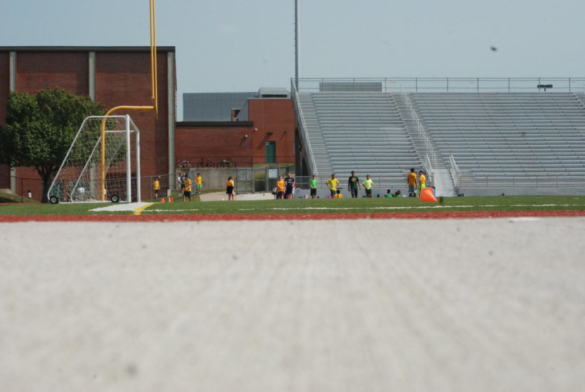 Little view of new stadium with the viewpoint of the worm. While this picture was being taken there was team games class going on, on the new field.