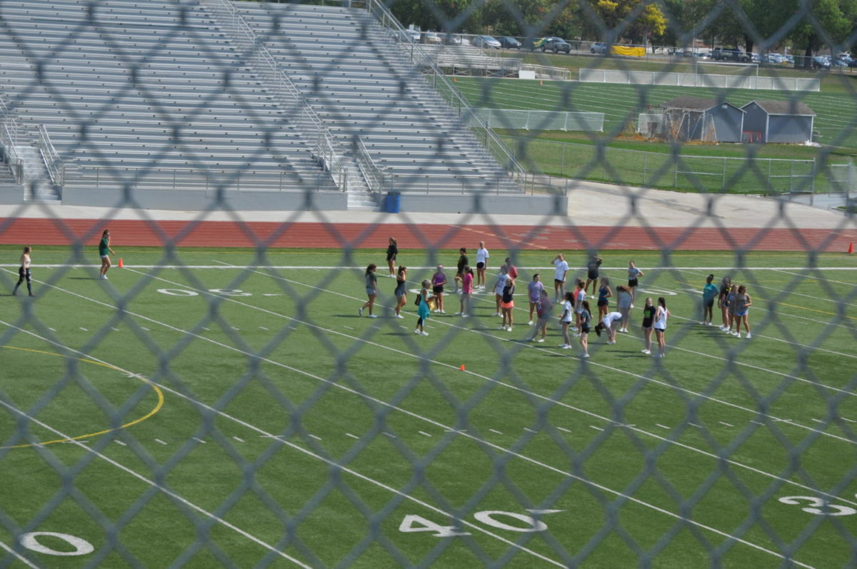Go SMS! These cheerleaders are practicing for future games, and while the new stadium is a nice addition, some students are worried that it is taken advantage of by other schools. Freshman Chey Page said the stadium was