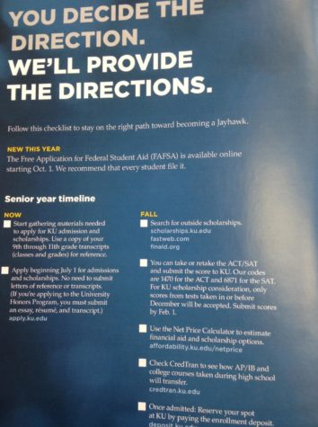 An ad for college help featured in a school brochure.