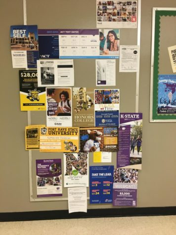 If you need any extra information on colleges, then take a trip down the counseling halls. There is a board with many different colleges and college information on it. It gives students scholarships possibilities, ACT and college visit times. Next time you