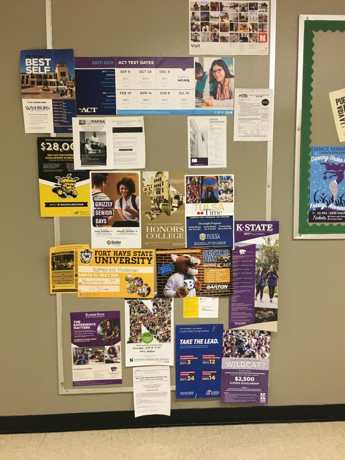 If you need any extra information on colleges, then take a trip down the counseling halls. There is a board with many different colleges and college information on it. It gives students scholarships possibilities, ACT and college visit times. Next time you're walking down the counseling hall take a look at the board.