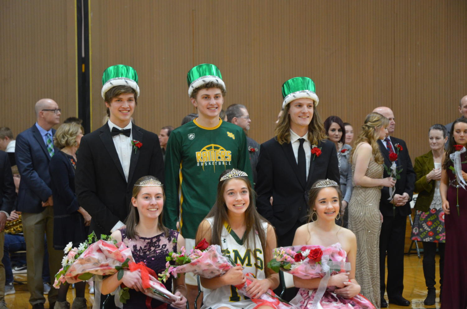 Sweetheart candidates Kailey Hance, Karoline Shelton, Madison Holloway,  Patrick Sturm, Nick Wissel and Mason Zeller