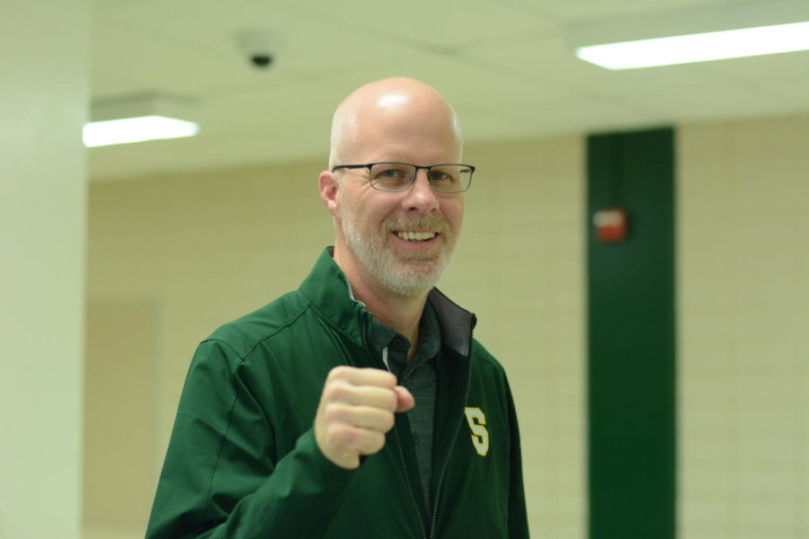 Mr. Bogart ready to fist bump students since it is Friday! Students love going up to him and hearing him say