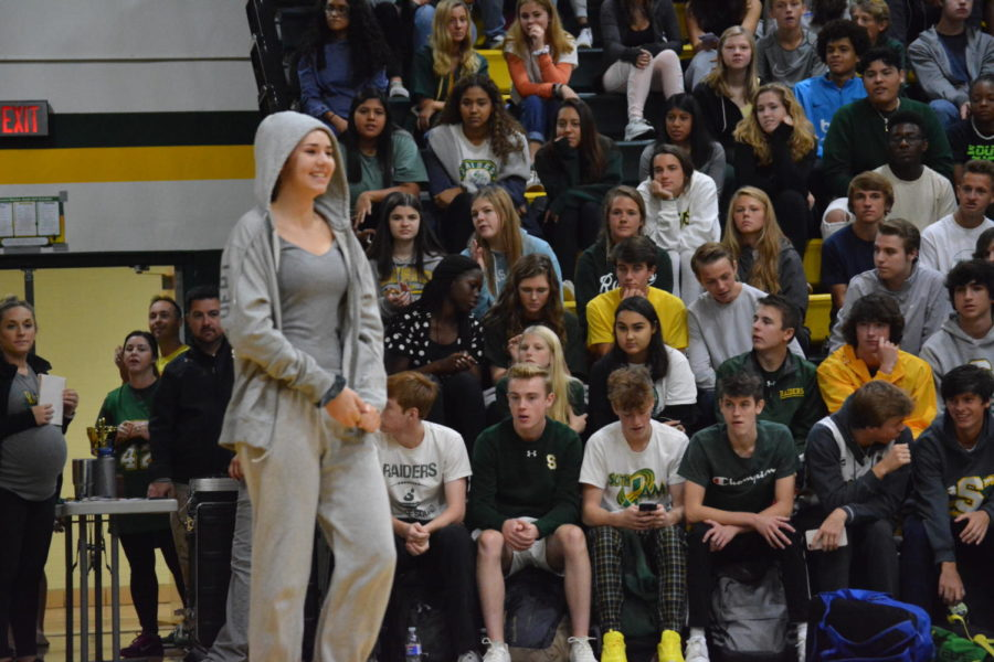 Senior Reese Gilmore is wearing her spirtwear from Monday's spirit day. She won for best groutfit.