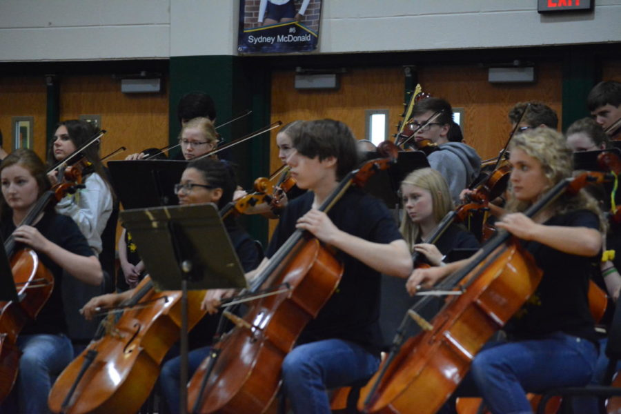 Orchestra students are playing the walk down music for the homecoming candidates. The were preparing for Octoberfest, which was later that day.