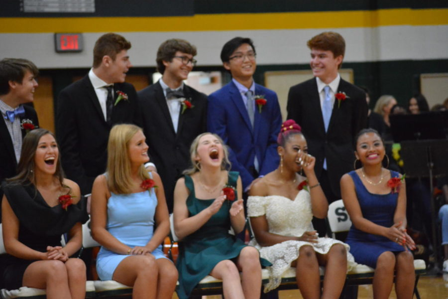 The homecoming candidates laughing and reaction  to the video that KSMS made about them. The video cropped their headshots over tv show clips and Vines.