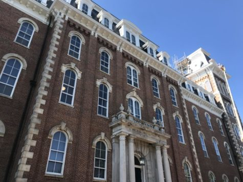 Visiting the University of Arkansas, senior Alma Harrison sees Old Main, the oldest building on campus. She made the trip to Fayetteville on National Testing Day.